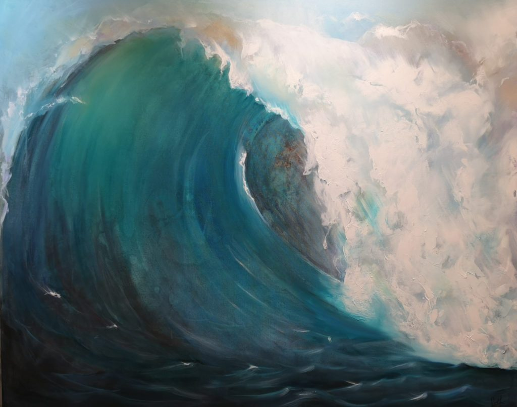 Art and Ceramic featuring waves in blue and turquoise